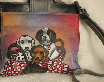 FREE SHIPPING Vintage Shariff 1827  Handpainted Dogs Purse Crossbody Bag