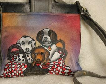FREE SHIPPING Vintage Shariff 1827  Handpainted Dogs Purse Crossbody Bag