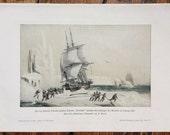 1900 ARCTIC SEA EXPLORATION print original antique lithograph - explorer Dumont d'Urville
