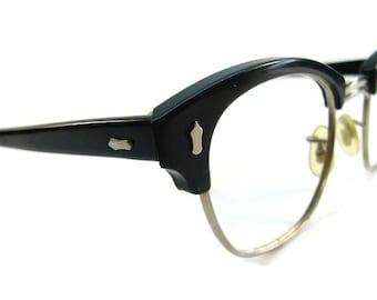 Vintage Mens Black Horn Rim Eyeglasses Eyewear Frame