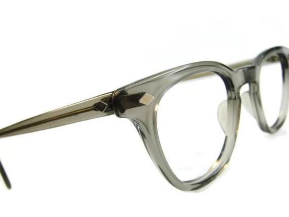 Vintage Shuron Eyeglass Frames : Vintage Mens Shuron USA Translucent Grey Horned Rim Eyeglasses
