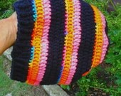 black orange pink slouch hat tam beanie