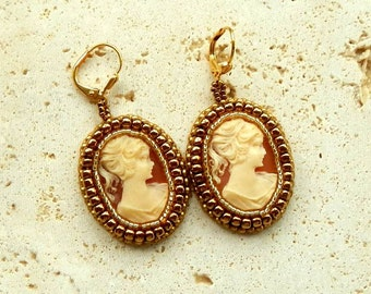 Cameo Earrings Hand Beaded Cabochon Gold Plated Ear Wires Green Suede Backings