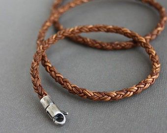 Mens Leather Braid Necklace Light Brown Cord Sterling Silver Clasp
