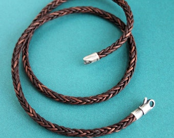 Mens Leather Necklace, Brown Square Braid, Sterling Silver Clasp