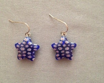 Star earrings - red, white, and blue
