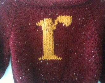 Ready to Ship - Baby Sweater with Letter -Red and Gold - Knitted - Monogram - Pullover -  Weasley Jumper