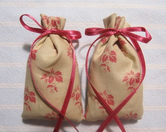 "Tan 3""X2"" Sachet-'Jamaica Me Crazy' Fragrance-Mauve/Pink Tropical/Travel Sachet-Mauve Ribbon-Cotton Fabric Herbal Sachet-Cindy's Loft-583"