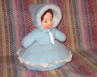 Bed Doll Large Stuffed  Pillow Blue Winter Snowsuit 50s plush soft fuzzy