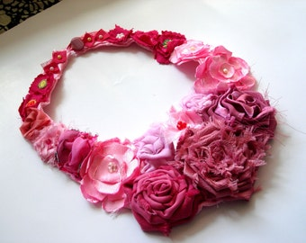 Pink flower bib necklace Statement necklace/ Pale pink Rosette Necklace Fabric Flower Jewelry
