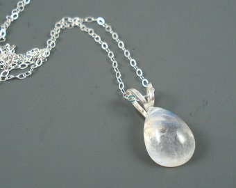 Moonstone Necklace with Rainbow Moonstone 14MM Flat Teardrop and Sterling Silver Chain