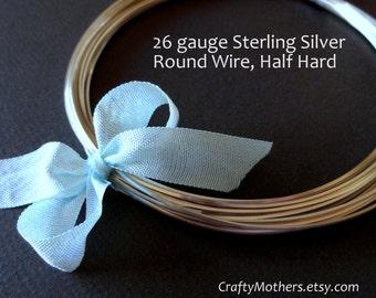 29% SALE! (Code: FROSTY) 10 feet, 26 gauge Sterling Silver Wire - Round, Half HARD solid .925 sterling silver, wire wrapping