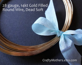 Use TAKE10 for 10% off! 25 feet, 28 gauge 14kt Gold Filled Round Wire, Dead SOFT, 14K/20, wire wrapping, earrings, necklace, precious metal