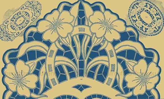antike franz sische art deco stickerei muster richelieu blumen. Black Bedroom Furniture Sets. Home Design Ideas