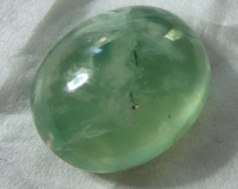 Gorgeous Green Prehinite Oval Pendant Bead Drilled