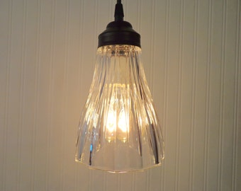 Vintage PENDANT Light of Heavy Glass
