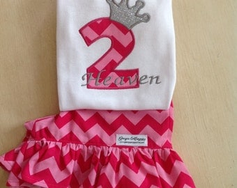 Chevron Ruffled Shorts and Applique Number Crown Shirt Set