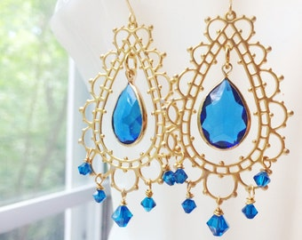 Bollywood Chandelier Earrings Morocco Blue Gold Lace by MinouBazaar