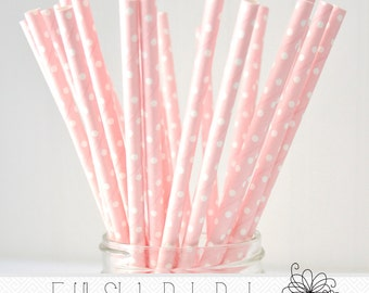Light Pink Polka Dot Straws, Party Straws, Paper Straws, Pack of 25 Straws