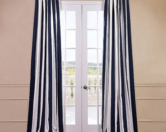 Spring Sale 20% off now- Navy Blue and White Striped Curtains Window Treatments, Navy Blue Nautical Curtains