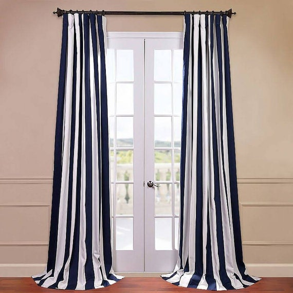 Navy Blue And White Striped Curtains Window Treatments