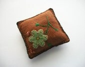 Pincushion Brown Felt with Hand Embroidered and Beaded Felt Flower Little Sequin Flowers Handsewn