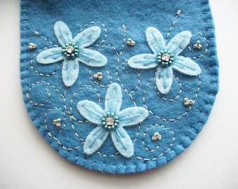 Bridal Jewelry Pouch Blue Felt Gift Bag with Hand Embroidered Felt Flowers and Rhinestone Crystal Rose Montees Handsewn