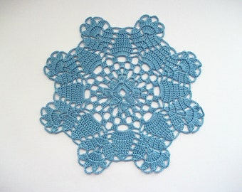 Crochet Doily Blue Cotton Lace Table Topper with Flower Edge Heirloom Quality