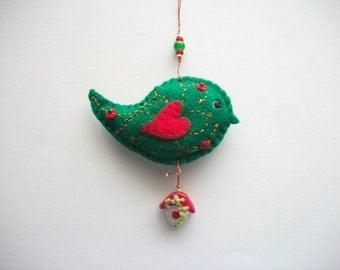 Felt Ornament Green Bird Hanging with Lampwork Birdhouse Bead Hand Embroidered Handsewn