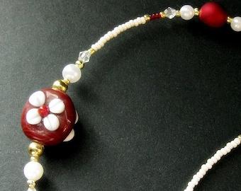 Brick Red Glasses Necklace. Nurses Lanyard. Lampwork Glass Flowers Eyeglass Holder. Floral Badge Lanyard. Eyeglass Chain. Handmade Lanyard.