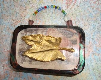 ALTERED ALTOID TIN - Golden Leaf Treasure Box