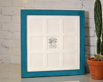"""16x16"""" Picture Frame in 1.5 Standard Style with Mat Window Openings for (9) 4x4 Photographs in Color(s) OF YOUR CHOICE- Collage Frame 4x4"""