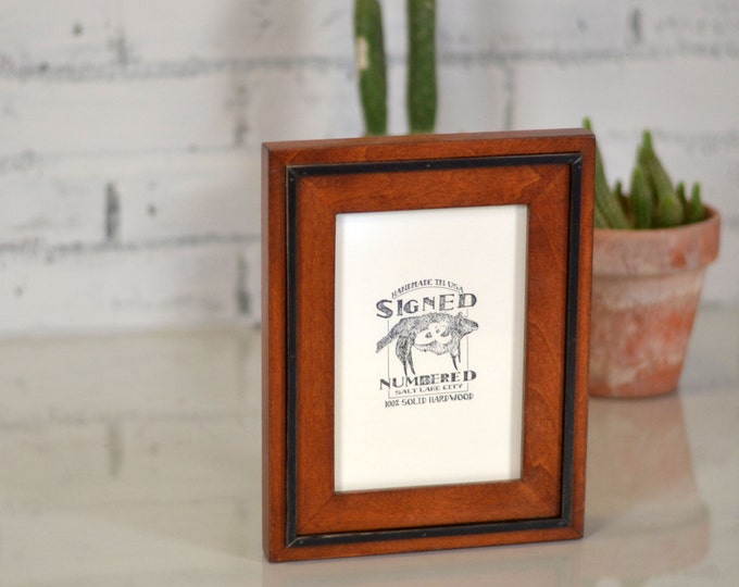 "5x7"" Picture Frame in SOLID Wood Tone Finish with SOLID Black Wood Wedge Style - Can Be Any Color Combination - 5x7 Photo Frame"