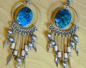 Beautiful Vintage Boho Chandelier Silver Tribal Earrings   Stone Peru Peruvian Dangle