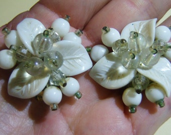 clip on earrings, vintage white leaves with white and clear beads clip on earrings 515A