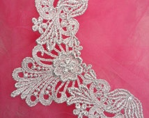 "F22 Silver Yoke Collar Venise Lace Applique 6"" (F22-sl)"