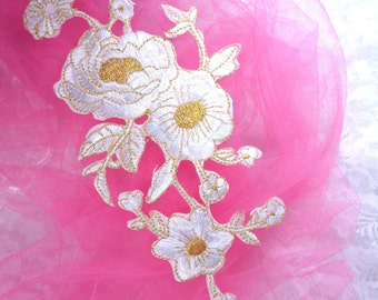 """GB158 White Gold Metallic Rose Embroidered Applique Iron On Patch 10"""" (GB158-whgl)"""
