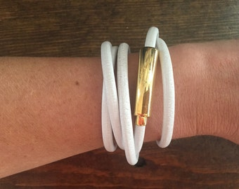 White leather wrap around bracelet with beautiful gold magnetic clasp