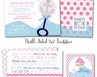 Nautical Baby Girl Invites