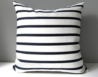 NAVY Blue & White Outdoor Pillow Cover, Modern Striped Pillow Case, Nautical Stripes, Decorative Throw Pillow Case, Sunbrella Cushion Cover