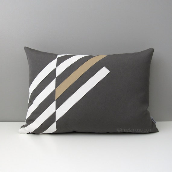 Grey Outdoor Pillow Cover Decorative Gray & Beige Pillow