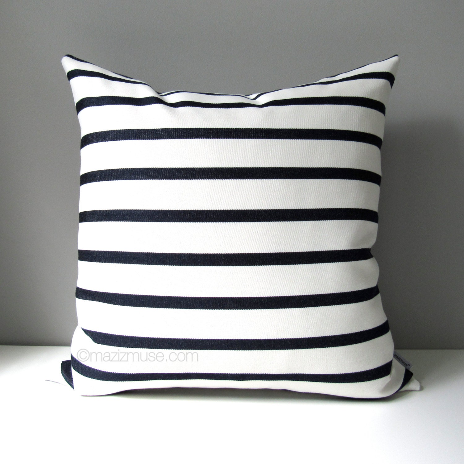 NAVY Blue & White Outdoor Pillow Cover Modern Striped Pillow