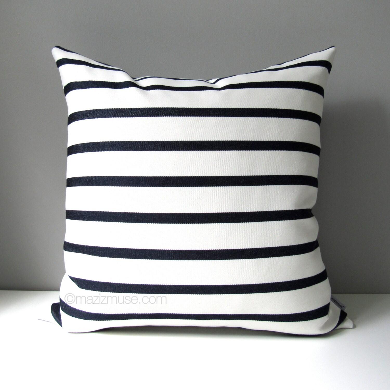 Modern Striped Pillows : NAVY Blue & White Outdoor Pillow Cover Modern Striped Pillow