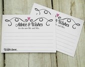 Wedding Advice Cards, Two Hearts Advice and Wishes Wedding Cards - PRINTABLE, Instant download - Guest Book Advice Wishes Cards