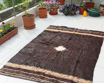 Antique Rug Carpet, Pure Goat Sheep Wool Fleece 100% Handwoven, Vintage, Eco Friendly Natural Color, Decorative Kilim