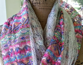Pink Tribal Lace Infinity Scarf