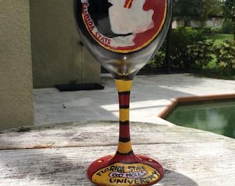 Florida State University, Seminole, FDU, hand painted wine glass, glasses, monogrammed/personalized