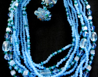 Fabulous BLUE Glass & GREEN Crystal 1960s Vintage Venetian Multi Strand Necklace and clip earrings set - Art.876/3--