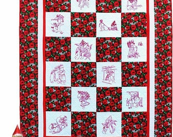 "Spirit of Christmas Hand Embroidery Quilt Pattern 60"" x 80"""