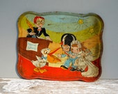 Antique Rusty Childs Toy Tray . Cartoon Design . Marriage Licenses . Ohio . Antique Toy